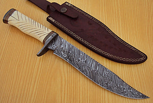 REG-HO-220  Handmade Damascus Steel 13.4 Inches Bowie Knife -  Camel Bone Handle