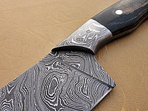 CF - 364, Custom Handmade Full Tang Damascus Steel Chef Knife - Black Brown Micarta Handle with Beautiful Brass Lining