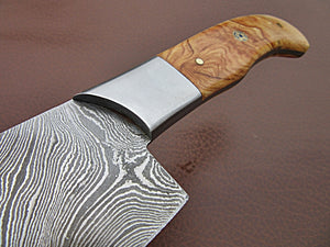 CFZ - 04, Custom Handmade Damascus Steel 12.00 Inches Chef Knife - Beautiful Olive Burrel Wood Handle with Stainless Steel Bolster