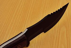 TR-73 10.00 Inches Powder Carbon Coated Tracker Knife - Stunning Micarta Handle