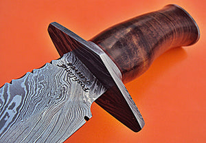 "REG-HK-91.Handmade Damascus Steel 12.4"" Inches Bowie Knife - Rose Wood Handle"