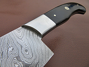 CFZ - 06, Custom Handmade Damascus Steel 12.00 Inches Chef Knife - Beautiful Bull Horn Handle with Stainless Steel Bolster