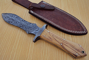 RAM-U-1185, Custom Handmade Damascus Steel 11.3 Inches Dagger Knife - Solid Olive Burrel Wood Handle