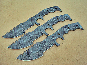 LOT-BBT-296,  Handmade Damascus Steel Blank Blade Full Tang Tracker Knives (Lot of 3) Set