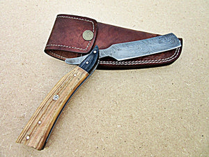 RZ-28, Custom Handmade Damascus Steel Straight Razor - Exotic Olive Wood and Doller Sheath Handle