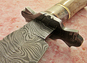 REG-BH-86, Handmade Damascus Steel 13.00 Inches Bowie Knife - Colored Bone and Bull Horn Handle with Damascus Steel Guard