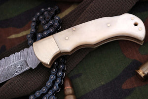 FN-9004, Custom Handmade Damascus Steel 6.04 Inches Folding Knife - Beautiful white Camel Bone Handle with Brass Bolster