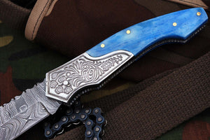 FN-01, Custom Handmade Damascus Steel 7.4 Inches Folding Knife - Beautiful Colored Camel Bone Handle with Damascus Steel Bolster