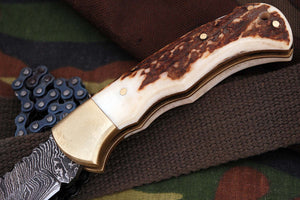 FN-9005, Custom Handmade Damascus Steel 6.04 Inches Folding Knife - Beautiful Stage Handle with Brass Bolster