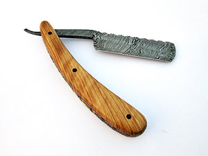 RZ-2081 Custom Handmade Damascus Steel Straight Razor - Beautiful File Work on Olive Wood Handle