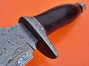 SK-46, Custom Handmade Damascus Steel Bushcraft Knife- Rose Wood Handle with Damascus Steel Guard