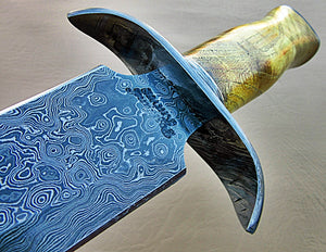 RAM-DG-325, Handmade Damascus Steel 15 Inches Dagger Knife – Exotic Appricots Wood Handle with Damascus Steel Guard