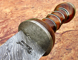 Sw-314, Handmade Damascus Steel 29.4 Inches Sword - Solid Rose Wood Handle with Damascus Steel Guard