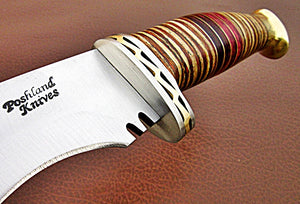 REG-HKC-334, Handmade Hi Carbon Steel 15 Inches Kukkri Knife - Three Tone Micarta Handle with Carbon Steel Guard & Brass Pommel