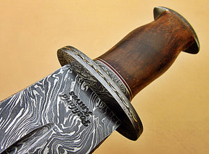 RAM-DG-342, Handmade Damascus Steel 17 Inches Dagger Knife – Exotic Rose Wood Handle with Damascus Steel Guard