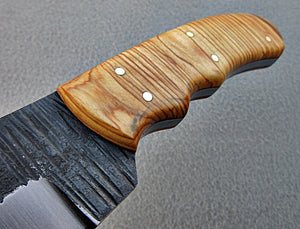 SK-1144, Custom Handmade Hi Carbon Steel Skinner Knife - Beautiful Olive Burrel Wood Handle