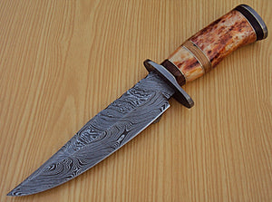 "REG-K-890- Custom Handmade Damascus Steel 11.6"" Inches Hunting Knife."