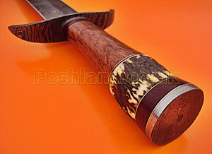 SW-148, Handmade Damascus Steel 25 Inches Sword - Beautiful Marindi Wood & Stag Horn Handle with Damascus Steel Guard
