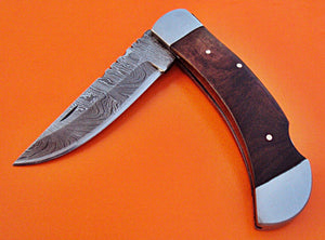 FN-28, Custom Handmade Damascus Steel Folding Knife - Solid Rose Wood Handle with Stainless Steel Bolsters