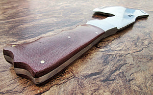 DIST-X-218, Custom Handmade 12.5 Inches Hi Carbon Steel Axe - Brown Canvas Micarta Handle