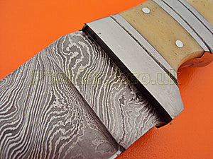 CF-0117, Custom Handmade Damascus Steel Chef Knife-  Beautiful Camel Bone Handle with Stainless Steel Bolsters