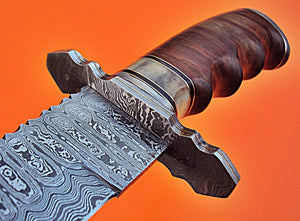 SW-110 Handmade Damascus Steel 21.40 Inches Full Tang Sword - Perfect Grip on Rose Wood and Bone Handle with Solid Guards