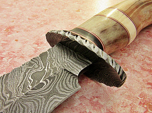 REG-BH-85, Handmade Damascus Steel 13.40 Inches Bowie Knife - Colored Bone and Bull Horn Handle with Damascus Steel Guard
