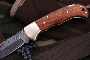 FN-9003, Custom Handmade Damascus Steel 6.04 Inches Folding Knife - Beautiful Wallnut Wood Handle with Brass Bolster