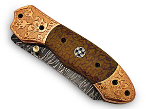 FNA-1179, Custom Handmade Damascus Steel 8.4 Inches Tanto Style Folding Knife - Gorgeous Hand Engraving on Snake Micarta and Browns Metal Handle