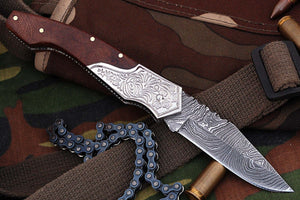 FN-03, Custom Handmade Damascus Steel 7.4 Inches Folding Knife - With Beautiful Walnut Wood Handle with Damascus Steel Bolster