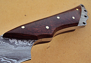REG-HK-210, Handmade 10.40 Inches Full Tang Damascus Steel Bowie Knife – Beautiful Rose Wood Handle