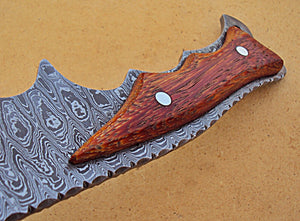 REG-HK-217, Handmade Full Tang Damascus Steel 14.00 Inches Bowie Knife - Marindi Wood Handle