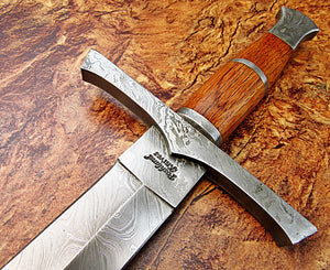 Sw-317, Handmade Damascus Steel 36.4 Inches Sword - Solid Marindi Wood Handle with Damascus Steel Guard