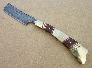 RZ-30, Custom Handmade Damascus Steel Straight Razor - Beautiful White Bone and Rose Wood Handle with Brass Bolsters