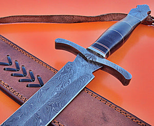 SW-288, Handmade Damascus  Steel 30 Inches Sword - Solid Three Tone Jean Micarta Handle with Damascus Steel Guard