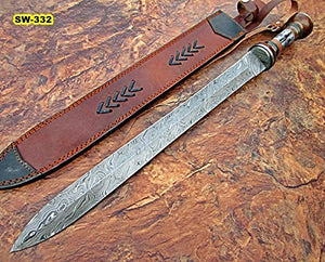 SW-149, Handmade Damascus Steel 25 Inches Sword - Best Quality Walnut Wood & Colored Bone Handle with Damascus Steel Guard