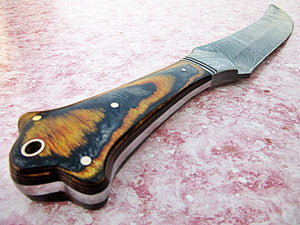 REG-B-74, Handmade Damascus Steel 15 inches Hunting Knife - Beautiful Two Tone Micarta Handle with Damascus Steel Guard