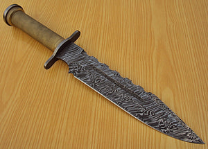 REG 1328 Handmade Damascus Steel 14.00 Inches Bowie Knife - Gorgeous Handle