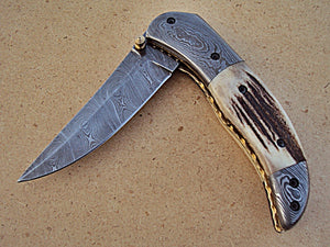 FNA-34 Custom Handmade Damascus Steel Folding Knife- Stag Horn Handle