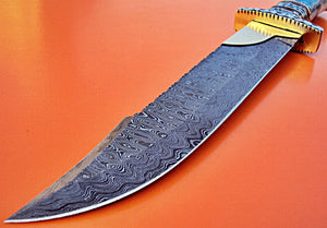 REG-HK-122, Handmade Damascus Steel 15.00 Inches Hunting Knife - Beautiful Brass File Work on Handle