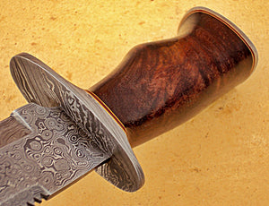 REG-HK-252 B, Handmade Damascus Steel 14 Inches Bowie Knife - Solid Rose Wood Handle with Damascus Steel Guard