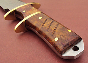 REG UM-47 Handmade Damascus Steel 12.00 Inches Hunting Knife - Rose Wood Handle and Brass Guards