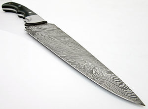 CFZ - 1166, Custom Handmade Damascus Steel 11.40 Inches Chef Knife - Beautiful Dark Green Micarta Handle with Stainless Steel Bolsters