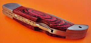 FN-25 Custom Handmade Damascus Steel Folding Knife - Colored Exotic Handle