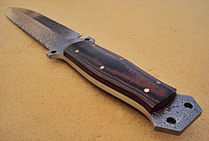 REG-HK-216, Handmade Damascus Steel 13.4 inch Hunting Knife - Beautiful Black Brown Micarta Handle