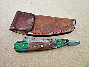 RZ-26, Custom Handmade Damascus Steel Straight Razor - Beautiful Rose Wood and Doller Sheath Handle