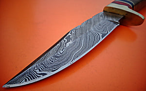 REG-HK-113, Handmade Damascus Steel 10.2 Inches Bowie Knife - Solid Wall Nut Wood Handle with Brass Guard