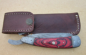 RZ-33, Custom Handmade Damascus Steel Straight Razor - Beautiful Doller Sheath Handle