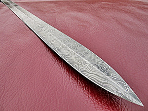 Sw-323, Handmade Damascus Steel 28 Inches Sword - Solid Marindi Wood Handle with Damascus Steel Guard