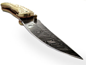 FNA-1172, Custom Handmade Damascus Steel 7.3 Inches Folding Knife - Gorgeous Hand Engraving on Full Tang Brass Handle